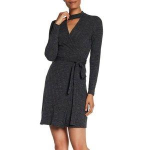 LAUNDRY by Shelli Segal Rib Knit Wrap Dress Gray